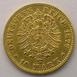 10 Mark   1879 F  (Stuttgart)    TTB