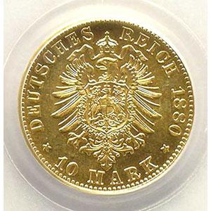 10 Mark   1880 F  (Stuttgart)    PCGS-MS64   pr.FDC