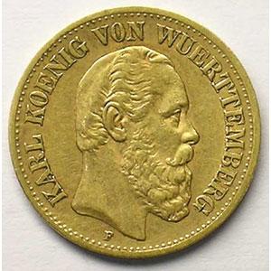 10 Mark   1881 F  (Stuttgart)    TTB