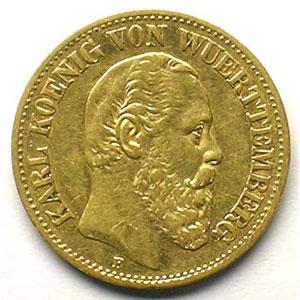 10 Mark   1888 F  (Stuttgart)    TB+
