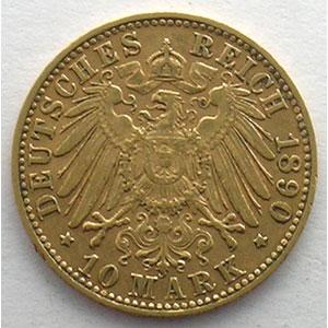 10 Mark   1890 D  (Münich)    TTB