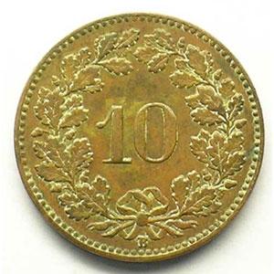 10 Rappen   1919 B    TB+/TTB