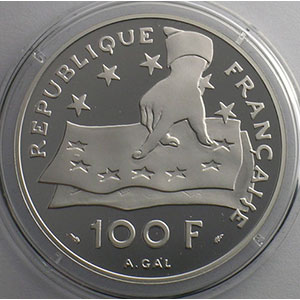 100 Francs/15 Ecus   Descartes   1991   37mm   22,2 g - Ag 900 mill.    BE