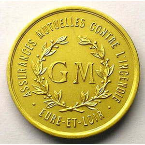 Photo numismatique  Monnaies Jetons & M�dailles en or Numismatique des Compagnies d'Assurances Eure et Loir Jeton rond en or   23,5mm    SUP/FDC
