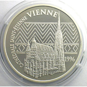 15 Euro/100 Fr.   Cathédrale Saint-Etienne de Vienne   1996   37mm   22,2 g - Ag 900 mill.    BE