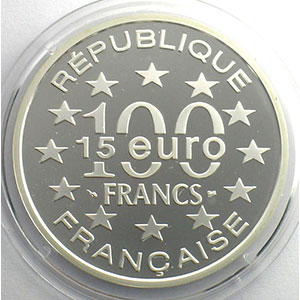 15 Euro/100 Fr.   Grand place de Bruxelles   1996   37mm   22,2 g - Ag 900 mill.    BE