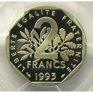 Photo numismatique  Monnaies Monnaies fran�aises 1959-2001 2 Francs G.547    Semeuse 1993    PCGS-PR69DCAM    BE