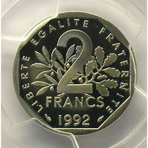 Photo numismatique  Monnaies Monnaies fran�aises 1959-2001 2 Francs G.547    Semeuse 1992    PCGS-PR69DCAM    BE