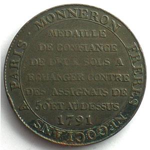 1791  An III   var.50#   bronze    TB+