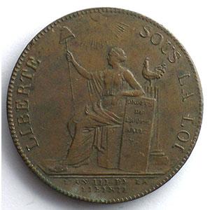 1791  An III   var.50#   bronze    TTB/TTB+