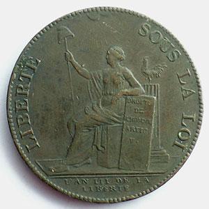 1791  An III   var.50L   bronze    TB+/TTB
