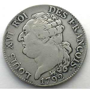1792 A  (Paris)  2°sem.    TTB   nettoyée / cleaned
