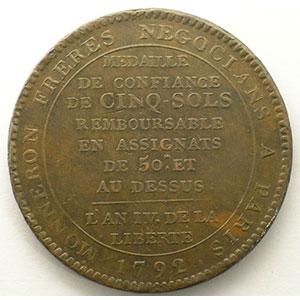 1792  An IV   bronze    TB+  chocs sur la tranche