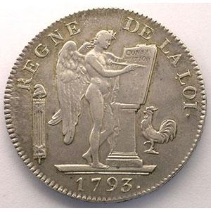 1793 A  (Paris)  An II, point semestriel    TTB/TTB+