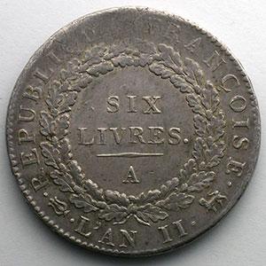 1793 A  (Paris)  An II, sans point    TB+/TTB
