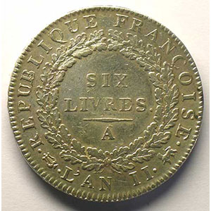 1793 A  (Paris)  An II, sans point    TTB