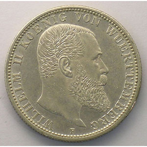 Photo numismatique  Monnaies Allemagne Wurtemberg Guillaume II   (1891-1918) 2 Mark   1908 F    SUP