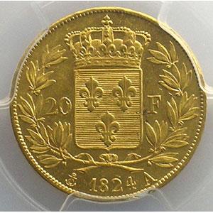 1824 A  (Paris)    PCGS-MS61    SUP/FDC