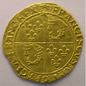 Photo numismatique  Monnaies Monnaies royales fran�aises Fran�ois I   (1515-1547) Dupl.782   Ecu d'or au Soleil du Dauphin� 1er type Point 1er  (Cr�mieu)    TTB