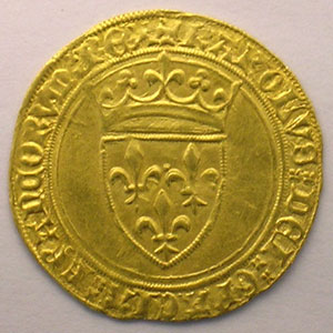 Photo numismatique  Monnaies Monnaies royales fran�aises Charles VI   (1380-1422) Duplessy 369   Ecu d'or � la couronne Point 18�  Paris    SUP