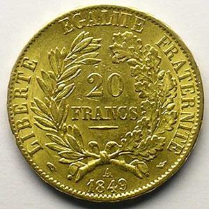 1849 A  (Paris)   millésime large    TTB+