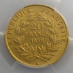 1852 A  (Paris)    PCGS-MS63   SUP/FDC