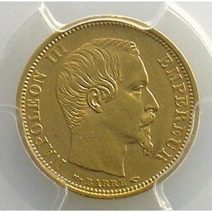 1854 A  tranche cannelée  (Paris)    PCGS-AU55    TTB+/SUP