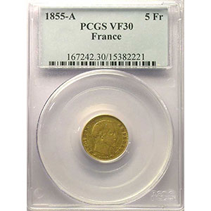 1855 A  (Paris)    PCGS-VF30    TB/TB+