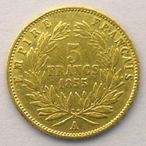 1855 A (Paris)  tranche cannelée    TB+/TTB