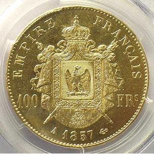 1857 A  (Paris)    PCGS-MS63    SUP/FDC
