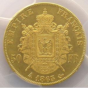 1865 A  (Paris)    PCGS-MS61    SUP/FDC