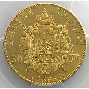 1866 A  (Paris)    PCGS-AU55    TTB+/SUP