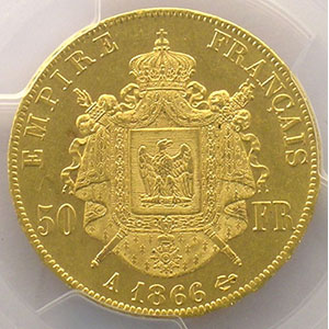 1866 A  (Paris)    PCGS-AU58    SUP