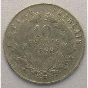 1866 BB  (Strasbourg)   Faux d'époque en Platine    TB+/TTB