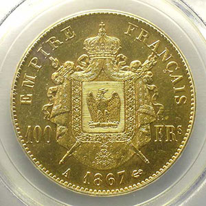 1867 A  (Paris)    PCGS-AU58+    SUP