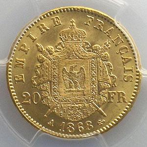 1868 A  (Paris)    PCGS-MS63+    pr.FDC