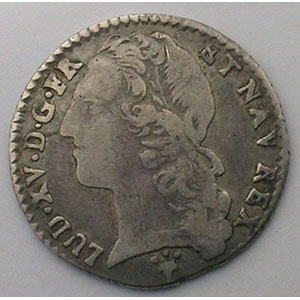 Photo numismatique  Monnaies Monnaies royales fran�aises Louis XV   (1715-1774) G.292   1/10 Ecu au bandeau 1760 S  (Reims)    TB+