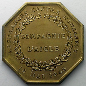 Photo numismatique  Monnaies Jetons & M�dailles Numismatique des Compagnies d'Assurances Aigle