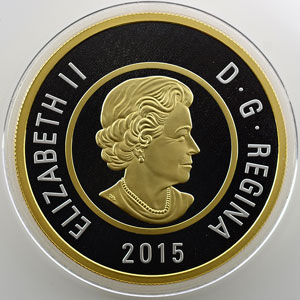 2 Dollars   2015   Big coin series   5 onces argent fin   BE/Proof plaqué or