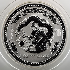 2 Dollars   Lunar coin série I   2000   année du Dragon    FDC