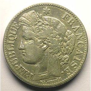 2 Francs   Cérès   1881 A   coins tournés à 100°    TB+