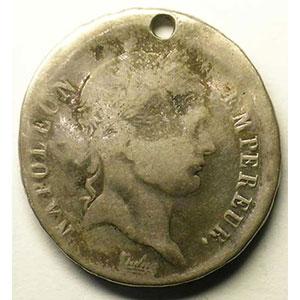 2 Francs   Napoléon I    1807 ou 1808    TTB percée