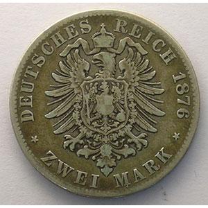 2 Mark   1876 F  (Stuttgart)    TB+/TTB