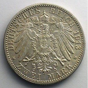 2 Mark   1913 G  (Karlsruhe)    TTB+/SUP