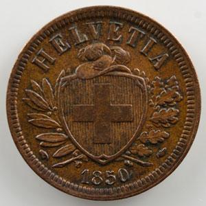 2 Rappen   1850 A    TTB+