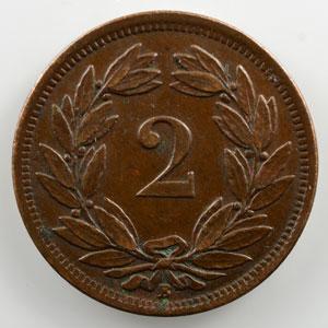2 Rappen   1870 B    TB+/TTB