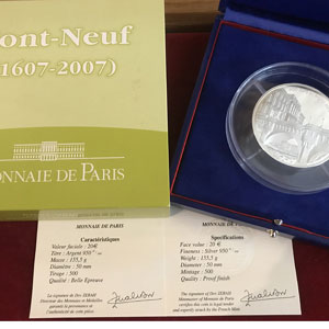 20 €   400 ans du Pont Neuf   2007   155,5 g argent 950 mill.    BE