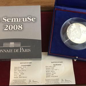 20 €   Semeuse - 50° anniversaire de la V° République   2008   155,5 g argent 950 mill.    BE