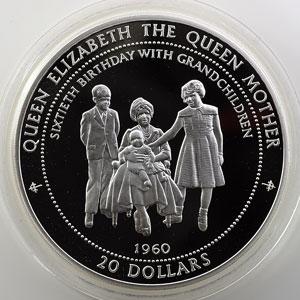 20 Dollars   1996   1960 - 60° anniversaire de la Reine mère, Lady of the century   5 onces argent 999 mill.   65mm    BE/Proof