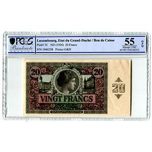 20 Francs   1914-1918 (8-12-1926)    pr.SPL    PCGS- UNC55 OPQ